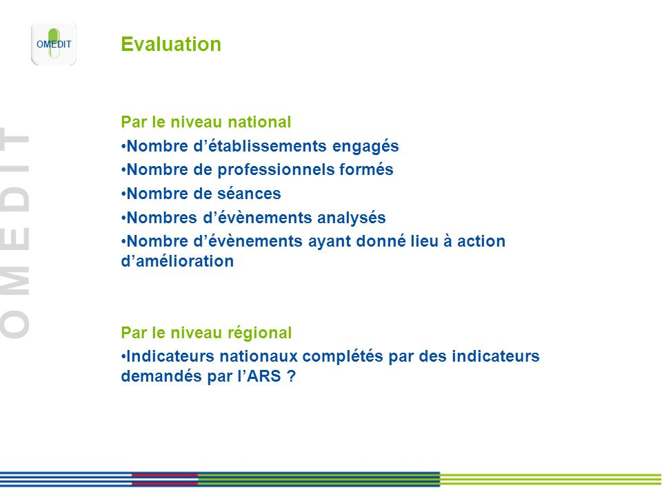 Evaluation Par le niveau national Nombre d'établissements engagés