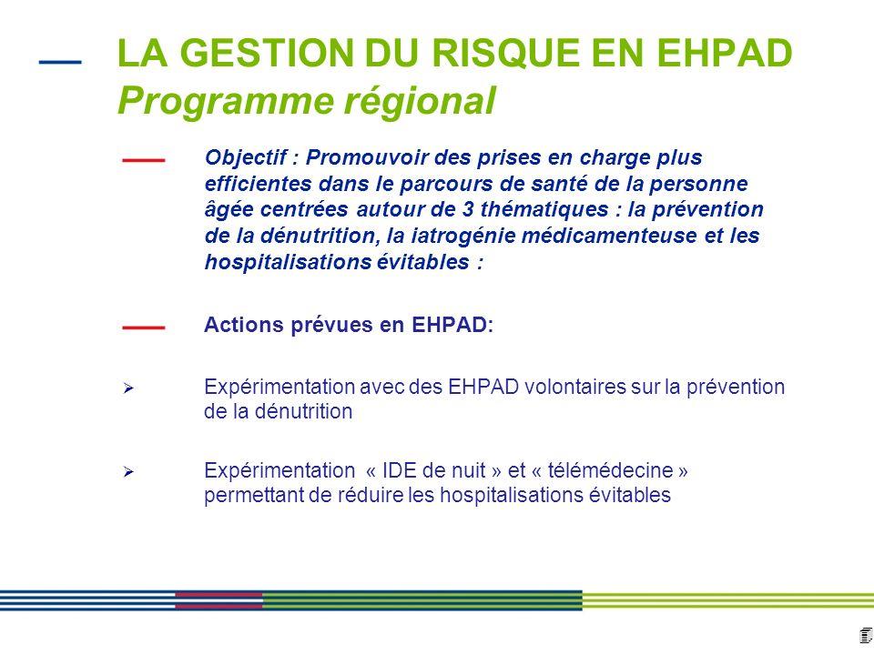 LA GESTION DU RISQUE EN EHPAD Programme régional