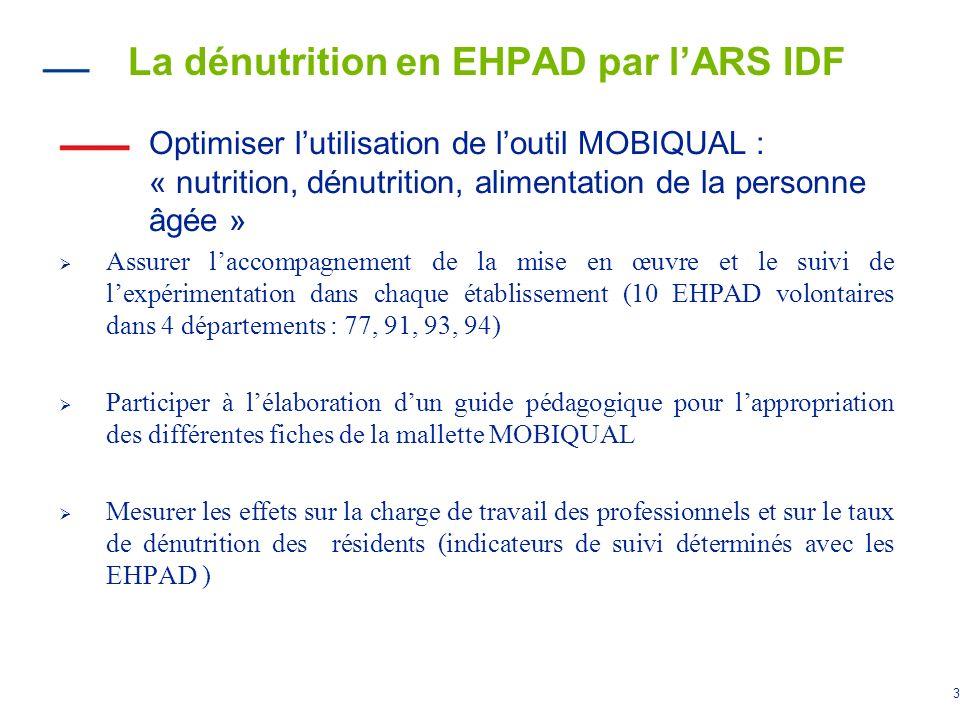La dénutrition en EHPAD par l'ARS IDF