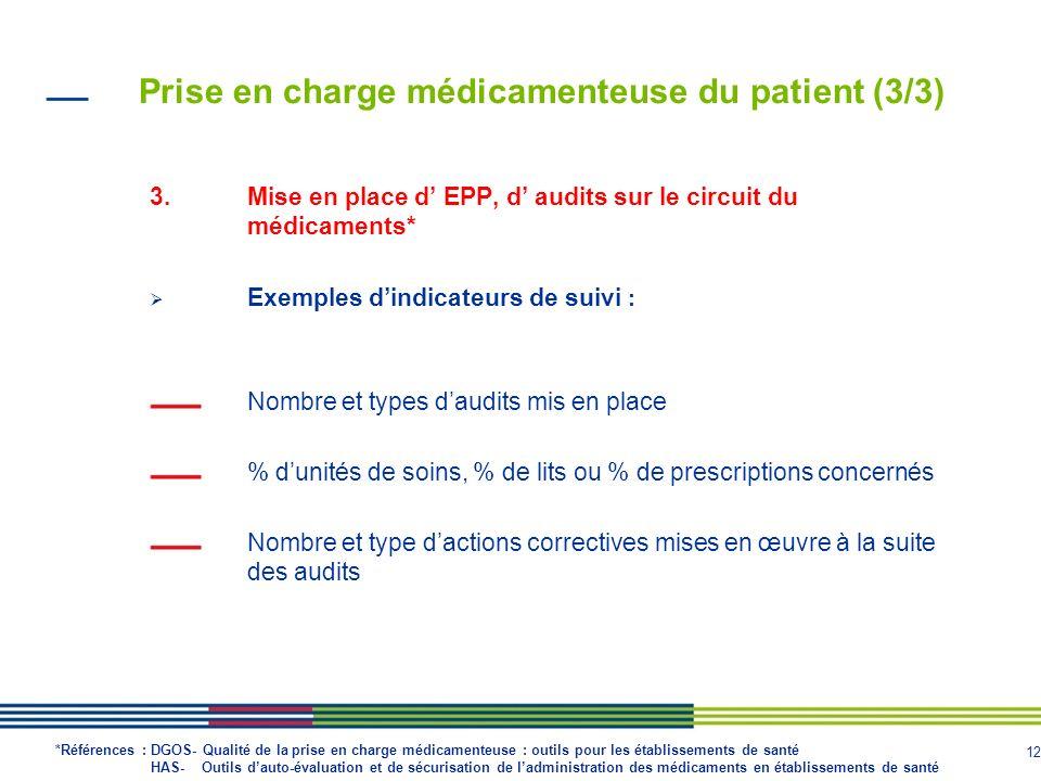 Prise en charge médicamenteuse du patient (3/3)