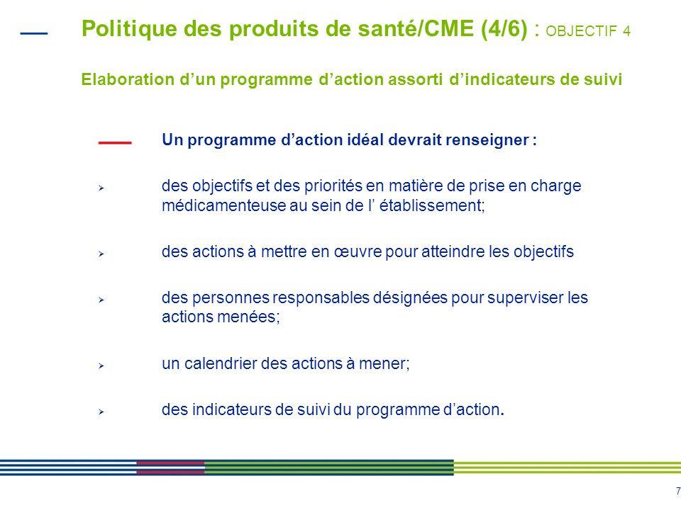 Politique des produits de santé/CME (4/6) : OBJECTIF 4 Elaboration d'un programme d'action assorti d'indicateurs de suivi