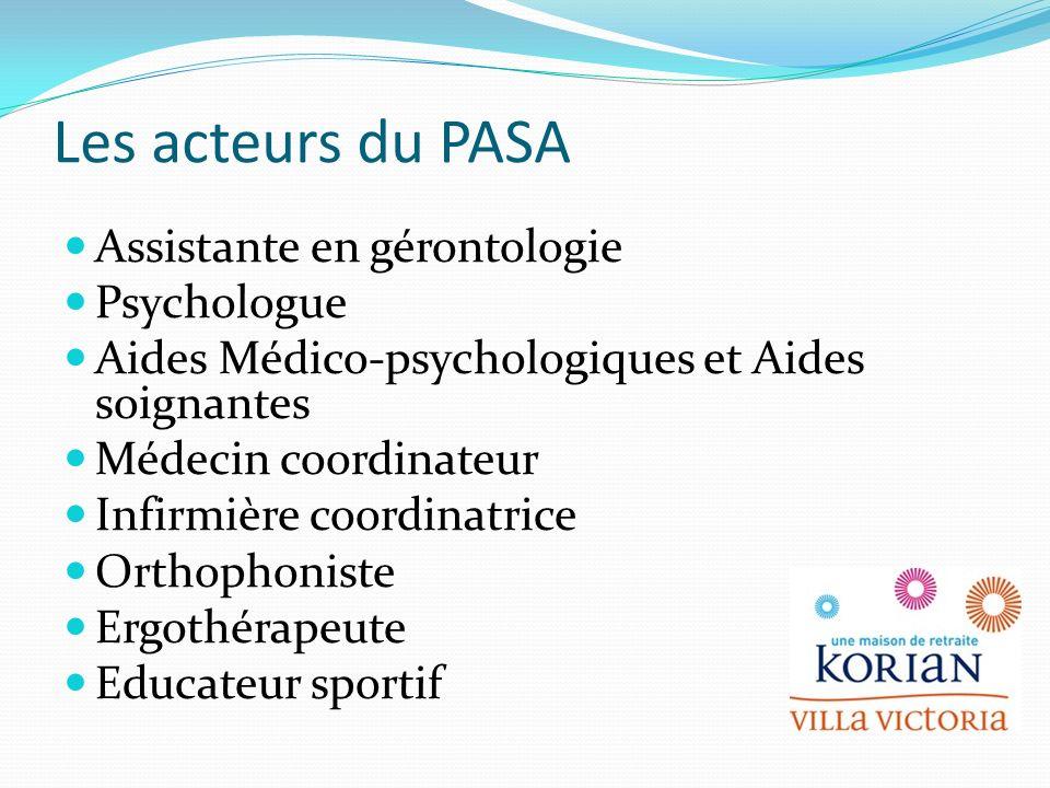 Les acteurs du PASA Assistante en gérontologie Psychologue