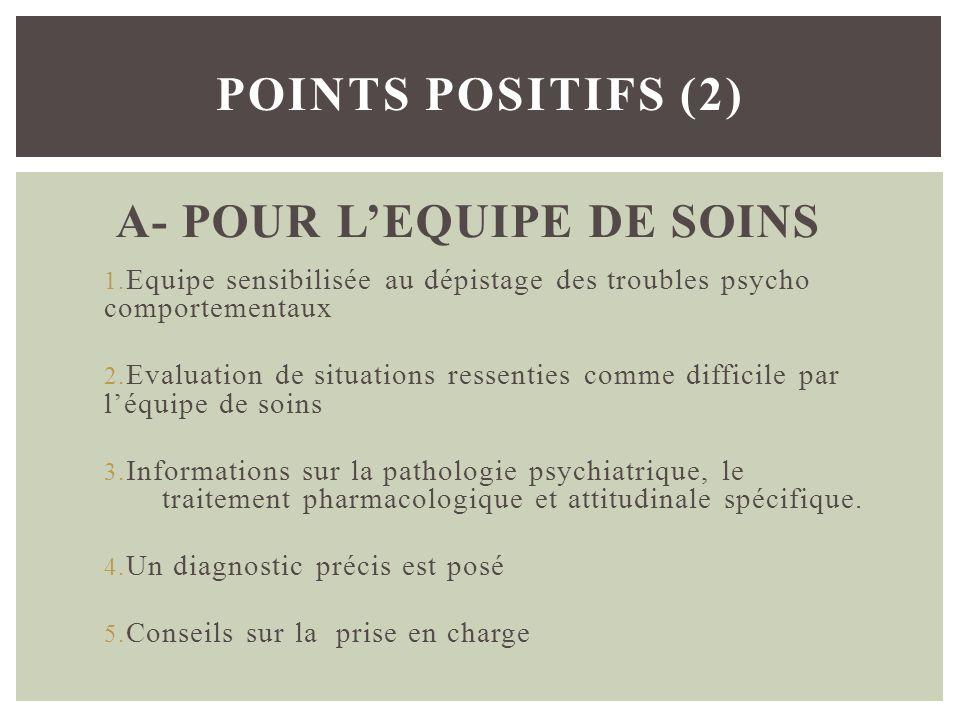 A- POUR L'EQUIPE DE SOINS
