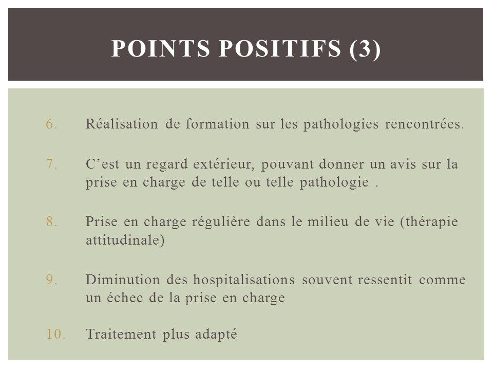 Points positifs (3) Réalisation de formation sur les pathologies rencontrées.