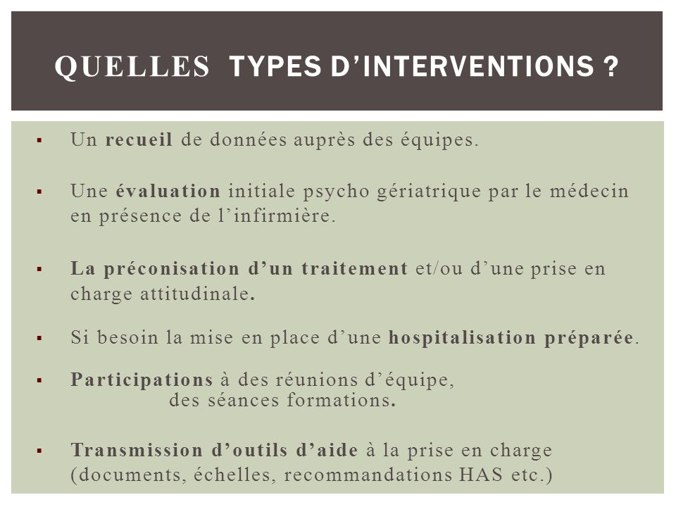 QUELLES TYPES D'INTERVENTIONS