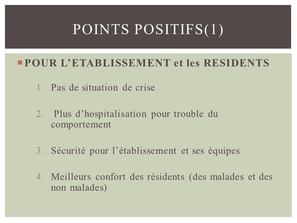 Points positifs(1) POUR L'ETABLISSEMENT et les RESIDENTS