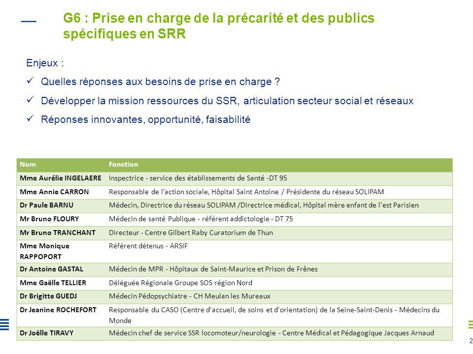 G6 : Prise en charge de la précarité et des publics spécifiques en SRR
