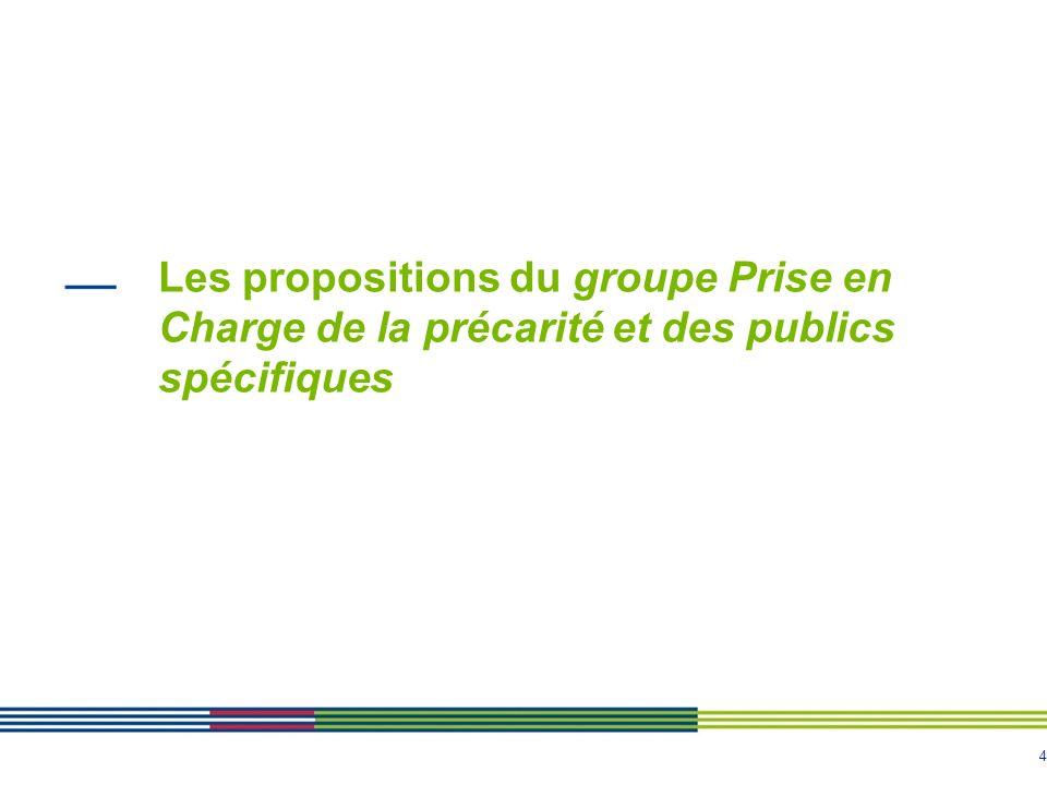 Les propositions du groupe Prise en Charge de la précarité et des publics spécifiques