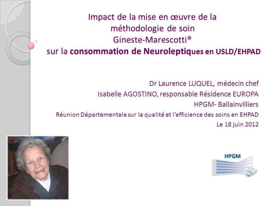 Impact de la mise en œuvre de la méthodologie de soin Gineste-Marescotti® sur la consommation de Neuroleptiques en USLD/EHPAD