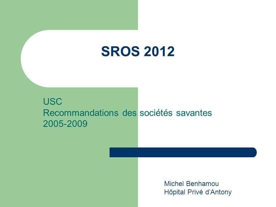 USC Recommandations des sociétés savantes 2005-2009