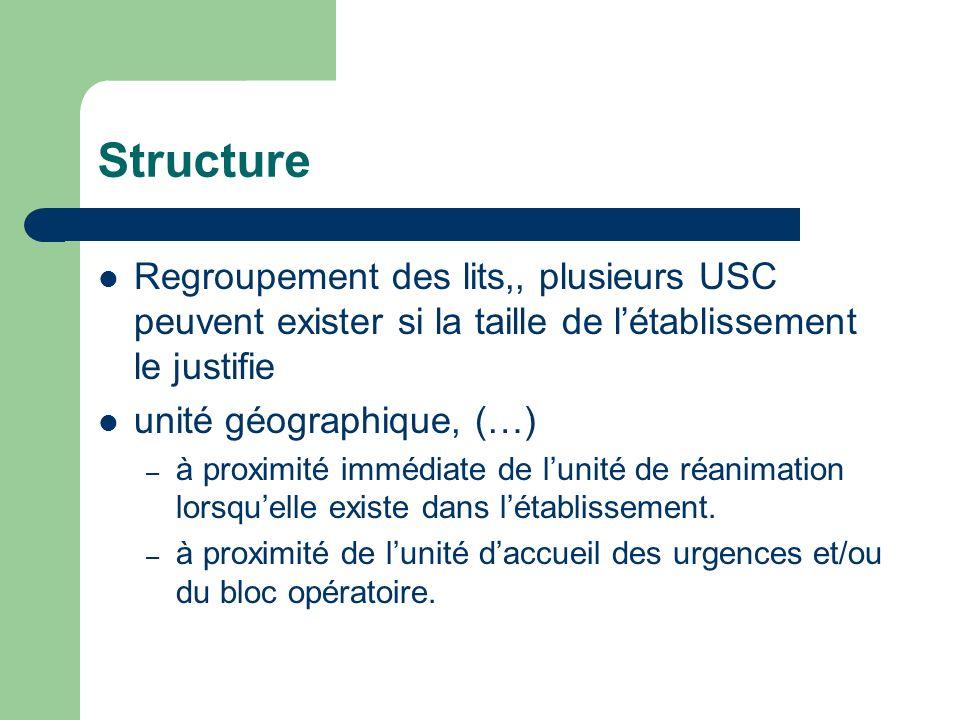 Structure Regroupement des lits,, plusieurs USC peuvent exister si la taille de l'établissement le justifie.
