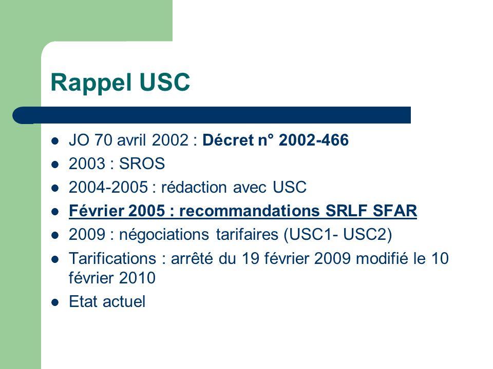 Rappel USC JO 70 avril 2002 : Décret n° 2002-466 2003 : SROS
