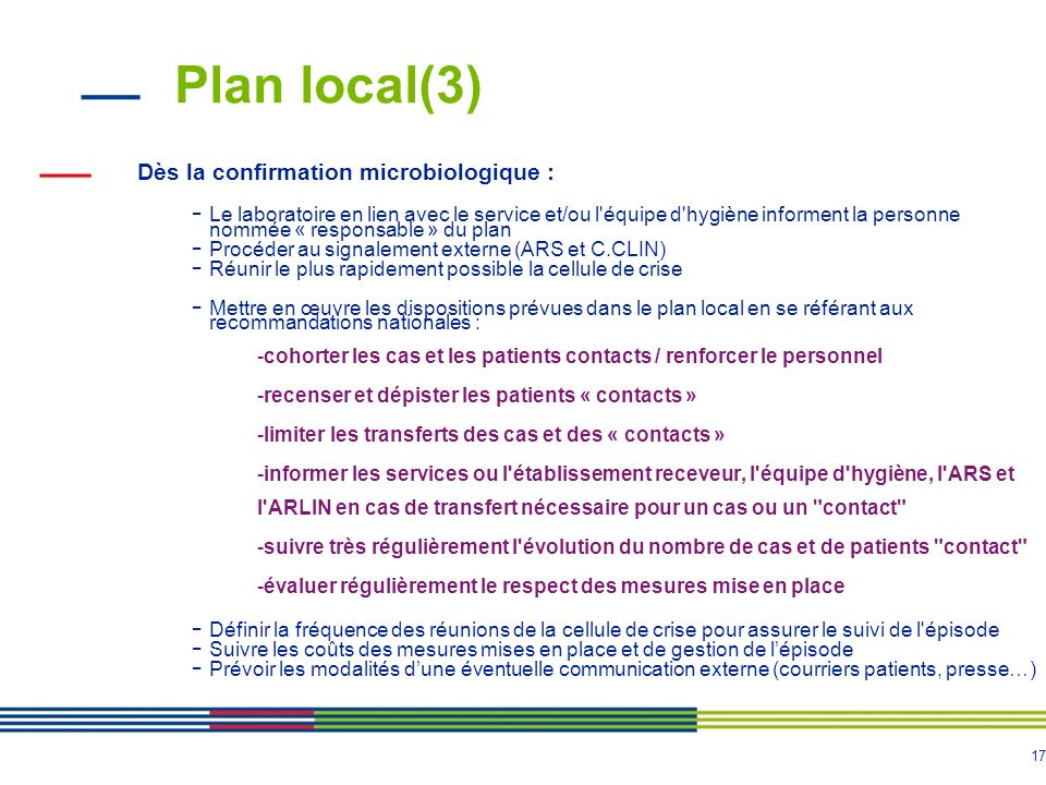Plan local(3) Dès la confirmation microbiologique :