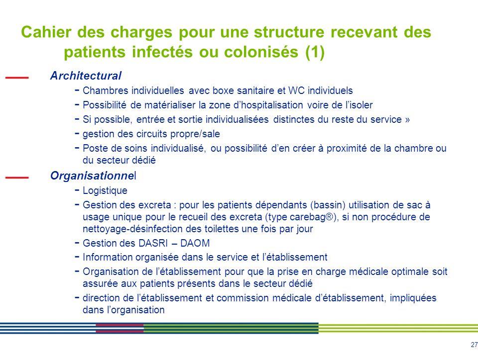 Cahier des charges pour une structure recevant des patients infectés ou colonisés (1)