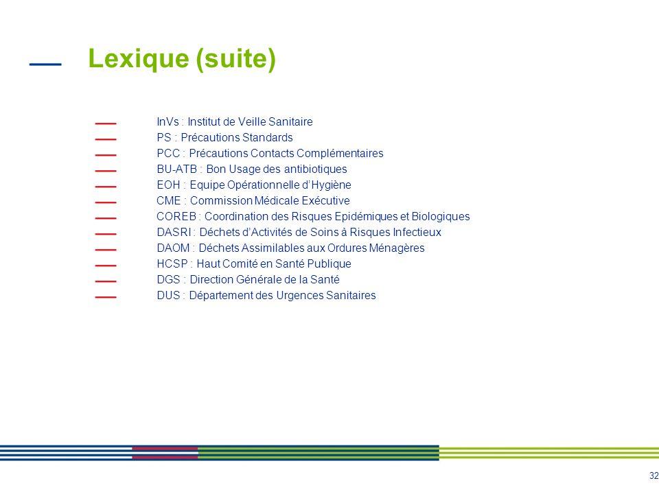 Lexique (suite) InVs : Institut de Veille Sanitaire