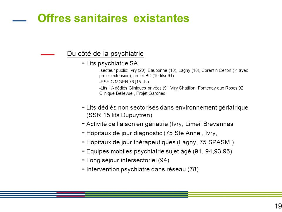 Offres sanitaires existantes