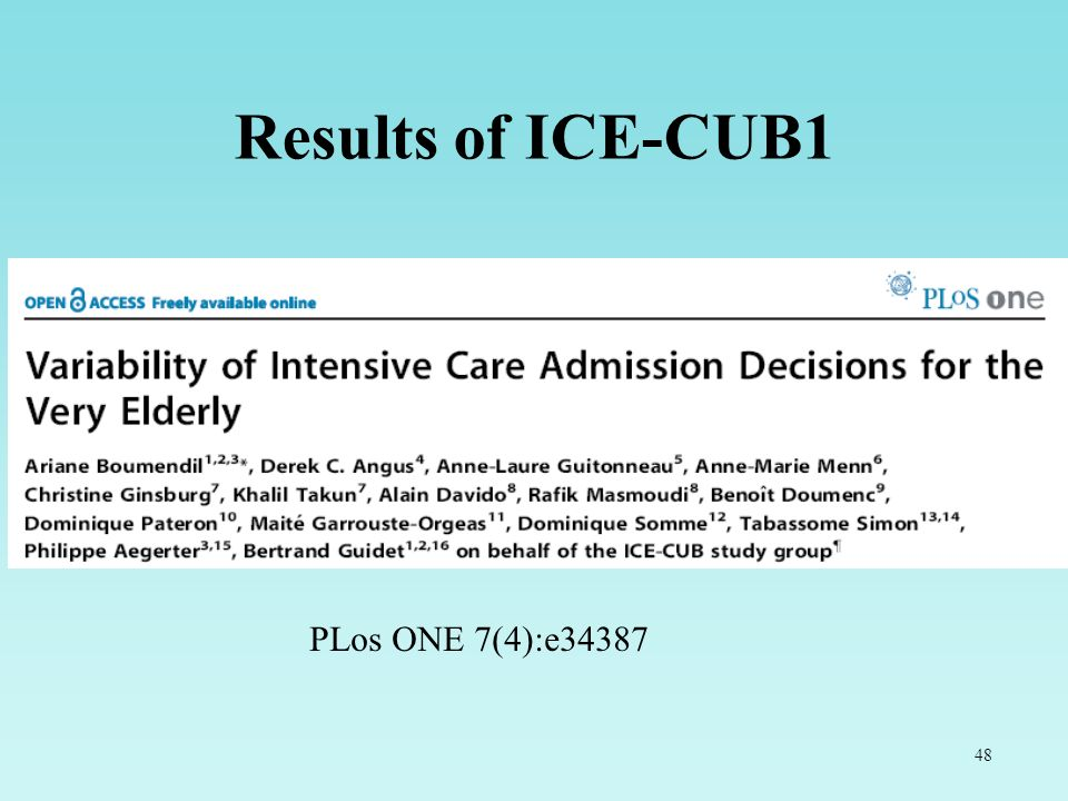 Results of ICE-CUB1 PLos ONE 7(4):e34387