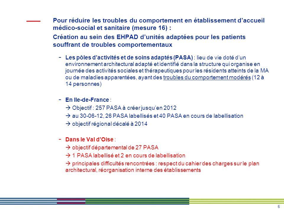 Pour réduire les troubles du comportement en établissement d'accueil médico-social et sanitaire (mesure 16) :