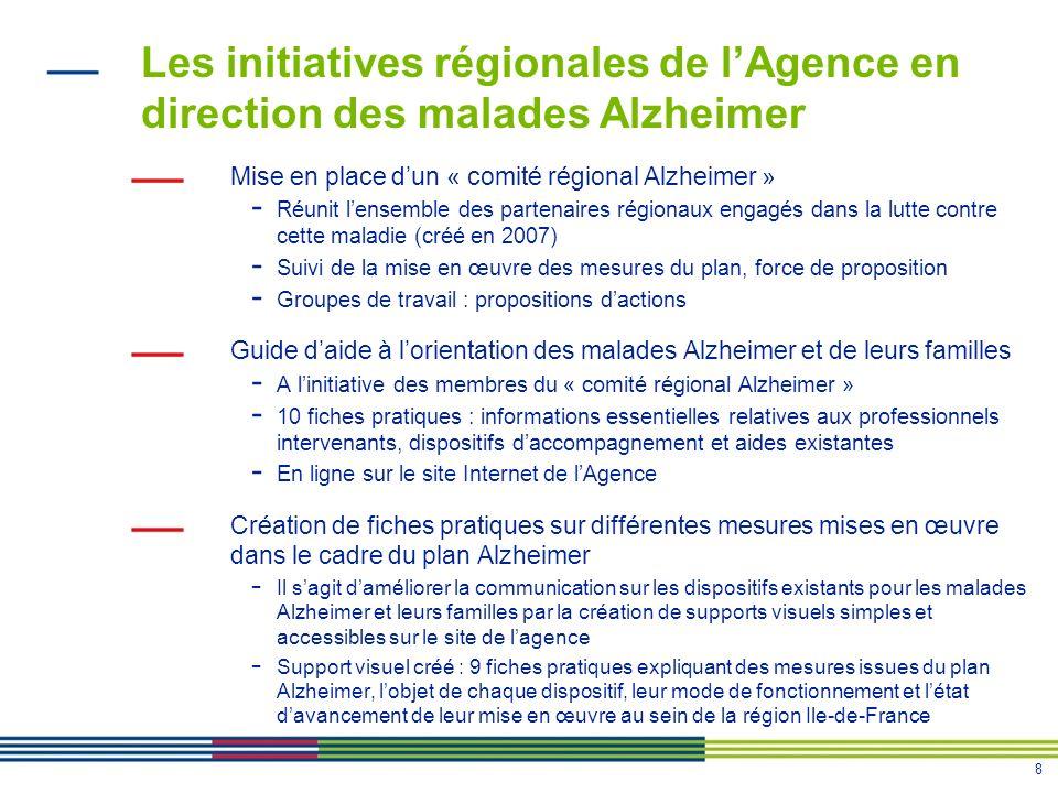 Les initiatives régionales de l'Agence en direction des malades Alzheimer