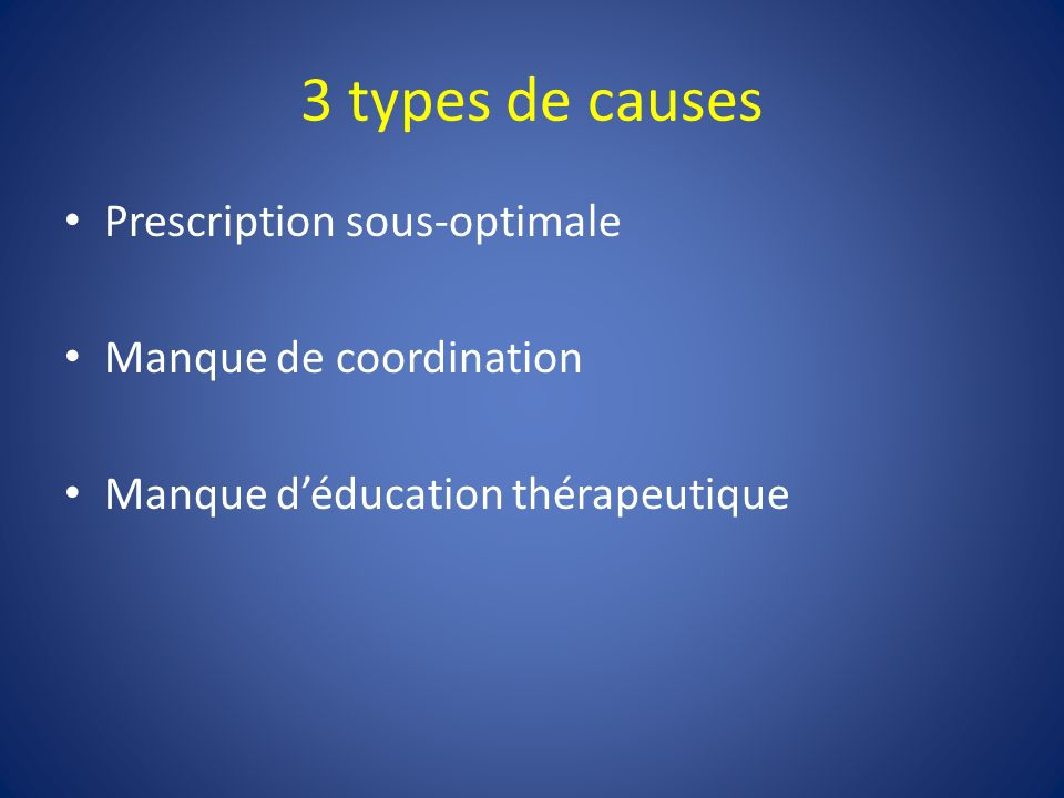3 types de causes Prescription sous-optimale Manque de coordination