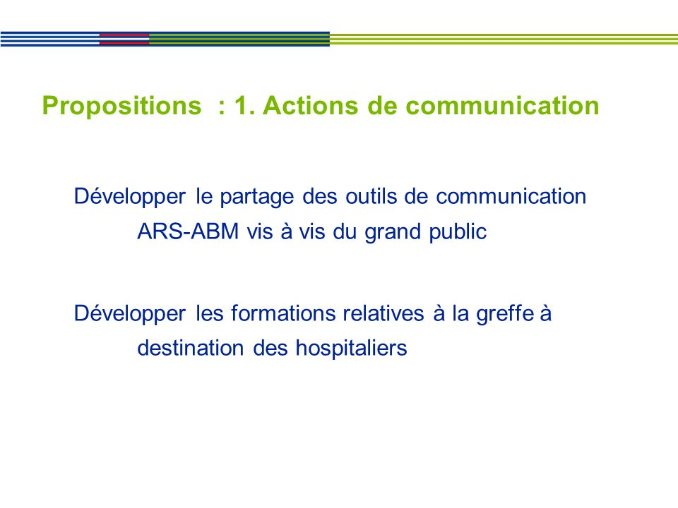Propositions : 1. Actions de communication