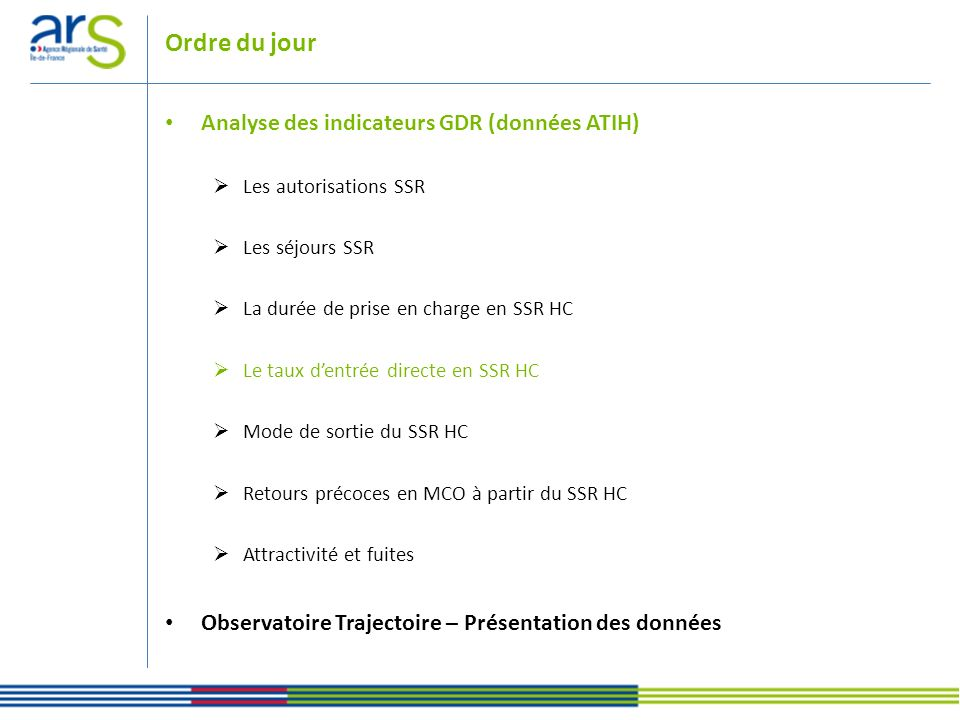 Ordre du jour Analyse des indicateurs GDR (données ATIH)