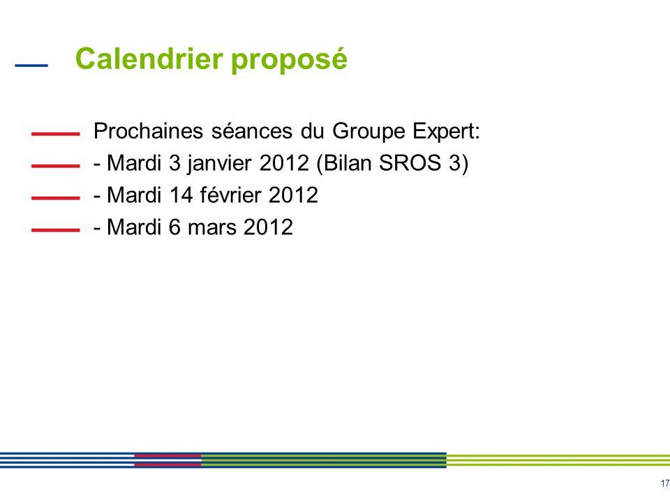 Calendrier proposé Prochaines séances du Groupe Expert: