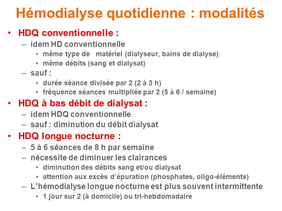 Hémodialyse quotidienne : modalités