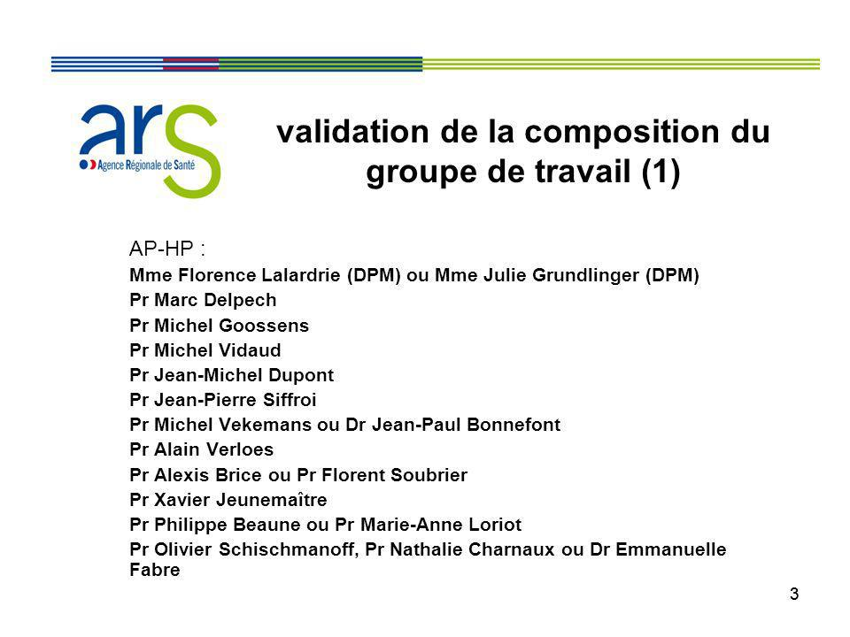validation de la composition du groupe de travail (1)