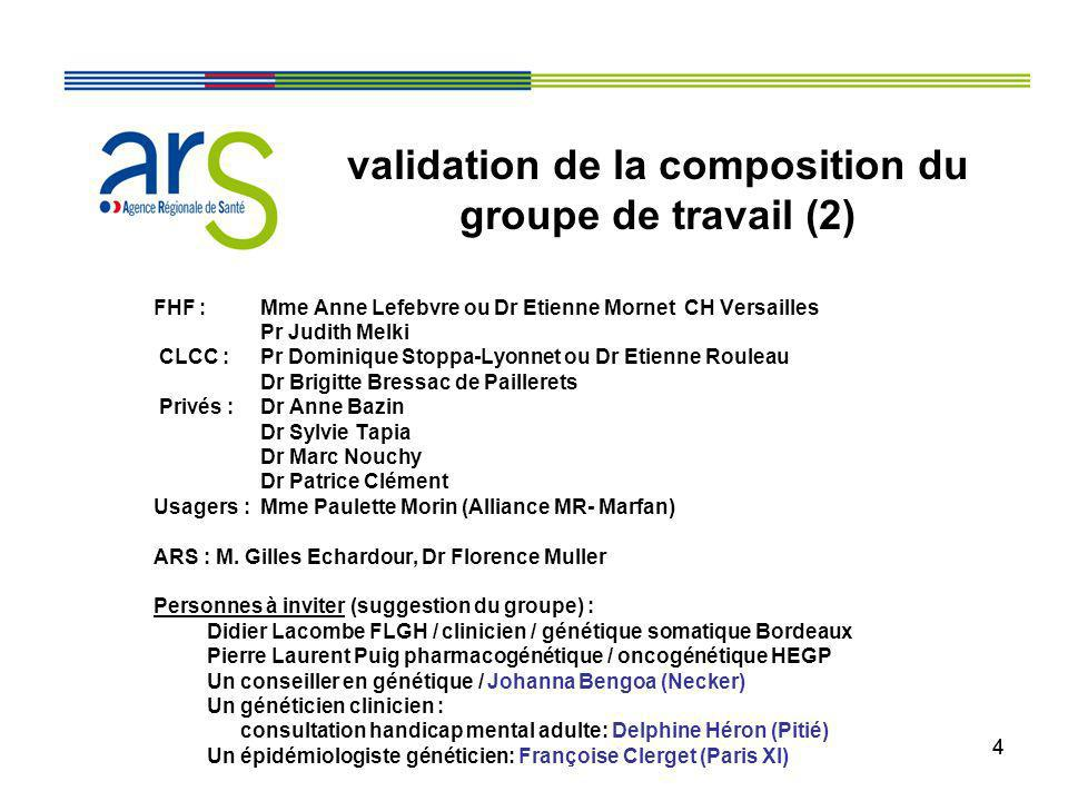 validation de la composition du groupe de travail (2)