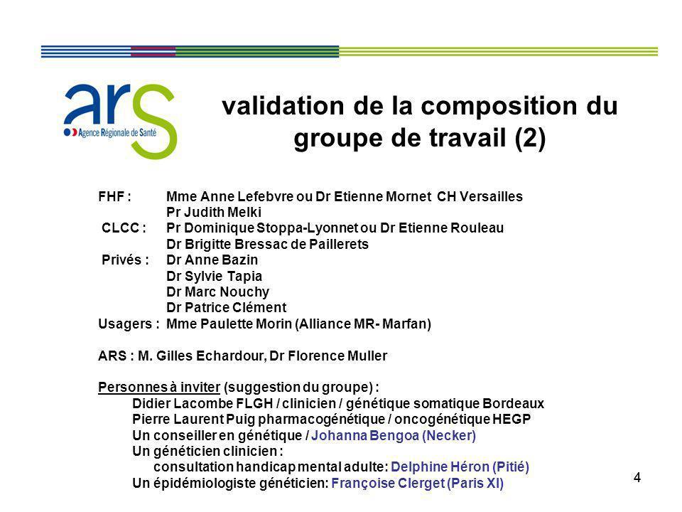 validation de la composition du groupe de travail (2)
