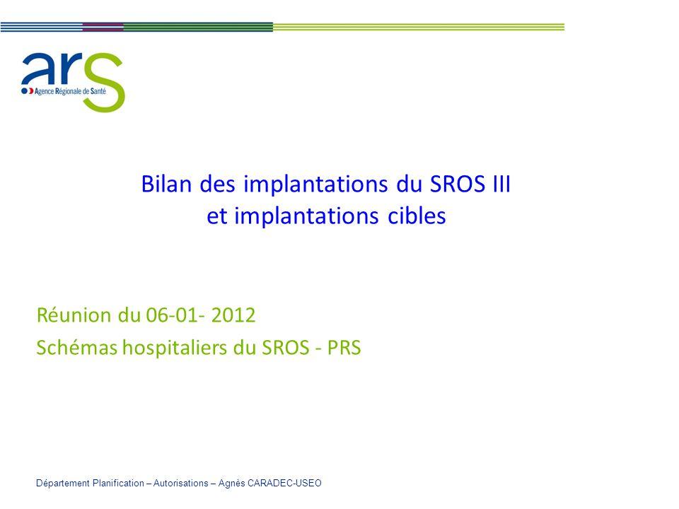 Bilan des implantations du SROS III et implantations cibles