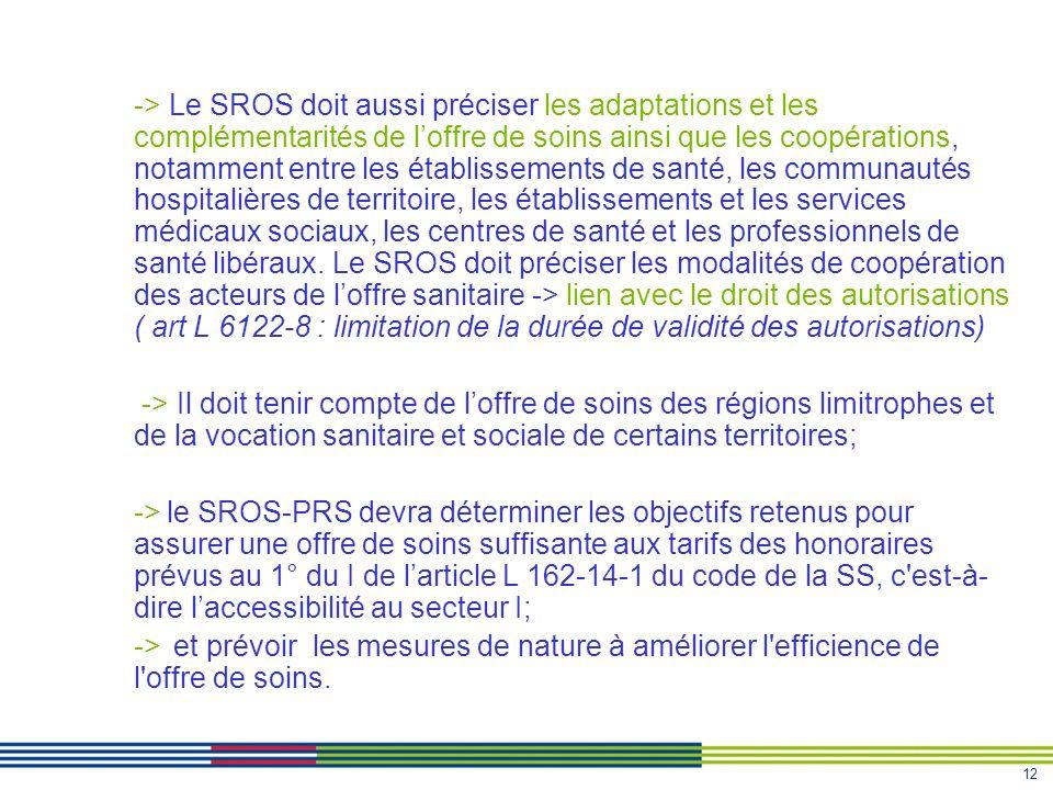 -> Le SROS doit aussi préciser les adaptations et les complémentarités de l'offre de soins ainsi que les coopérations, notamment entre les établissements de santé, les communautés hospitalières de territoire, les établissements et les services médicaux sociaux, les centres de santé et les professionnels de santé libéraux. Le SROS doit préciser les modalités de coopération des acteurs de l'offre sanitaire -> lien avec le droit des autorisations ( art L 6122-8 : limitation de la durée de validité des autorisations)