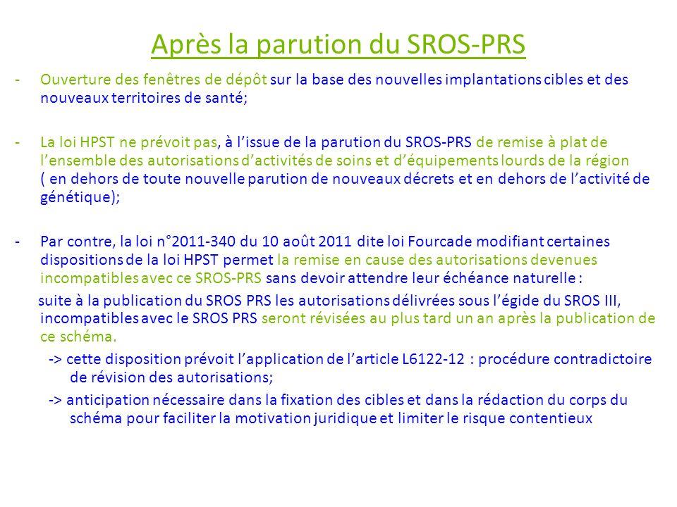 Après la parution du SROS-PRS