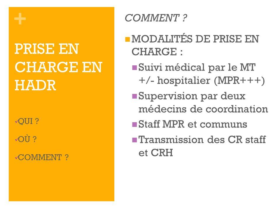 PRISE EN CHARGE EN HADR COMMENT MODALITÉS DE PRISE EN CHARGE :
