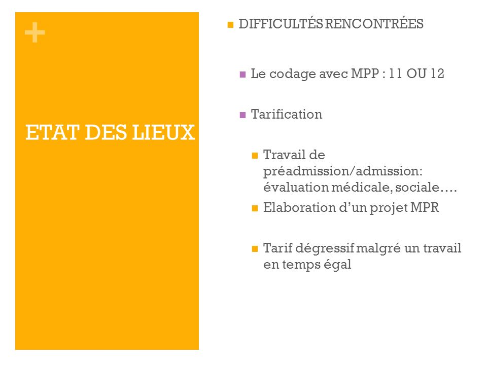 ETAT DES LIEUX DIFFICULTÉS RENCONTRÉES Le codage avec MPP : 11 OU 12
