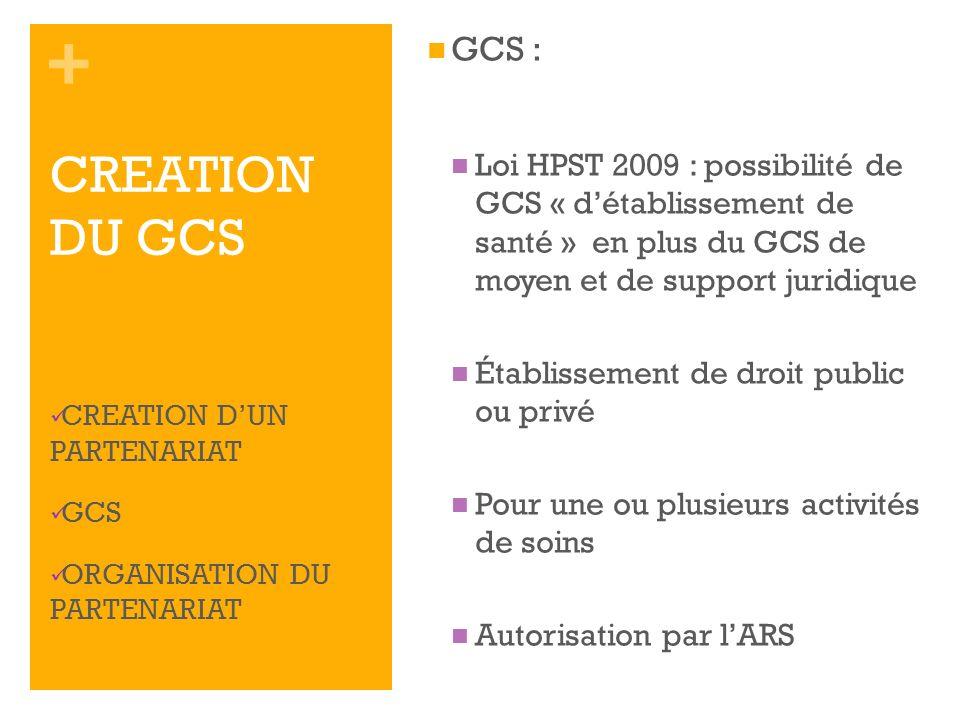 GCS : Loi HPST 2009 : possibilité de GCS « d'établissement de santé » en plus du GCS de moyen et de support juridique.