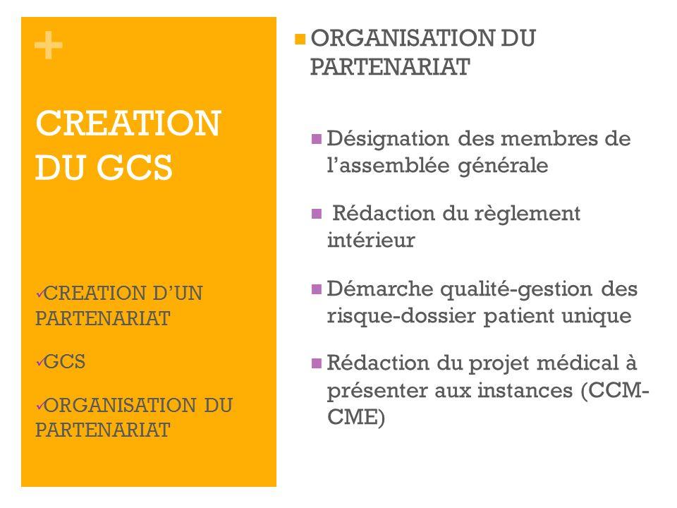 CREATION DU GCS ORGANISATION DU PARTENARIAT