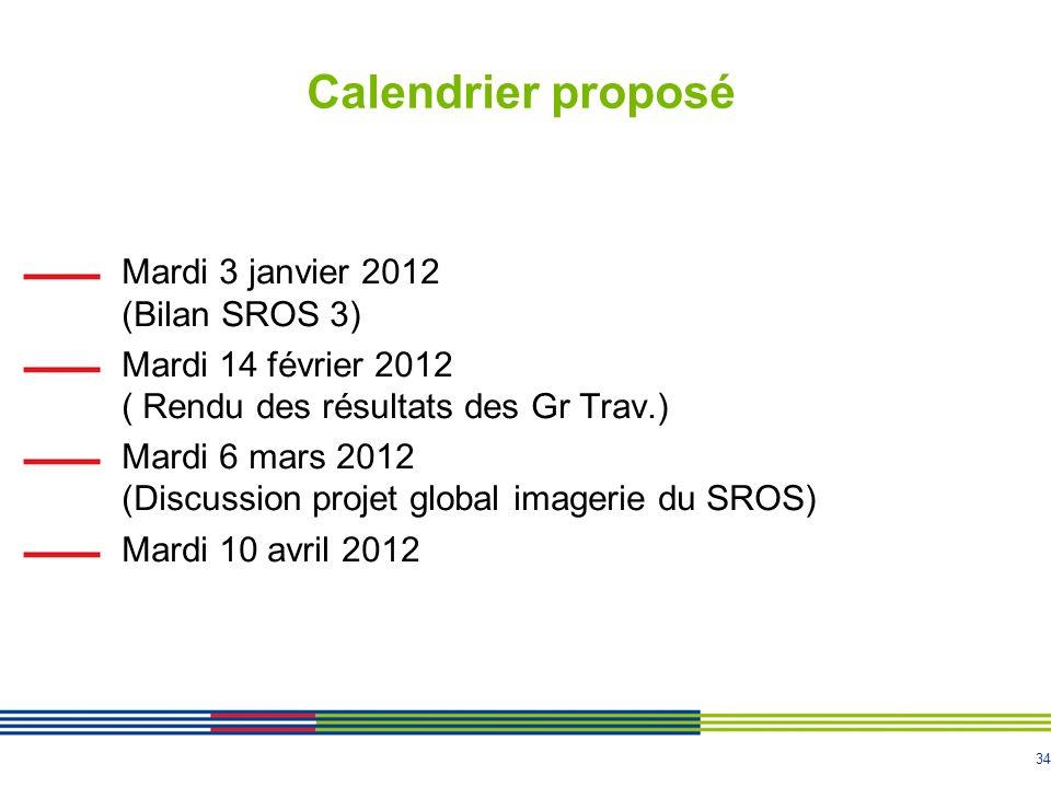 Calendrier proposé Mardi 3 janvier 2012 (Bilan SROS 3)