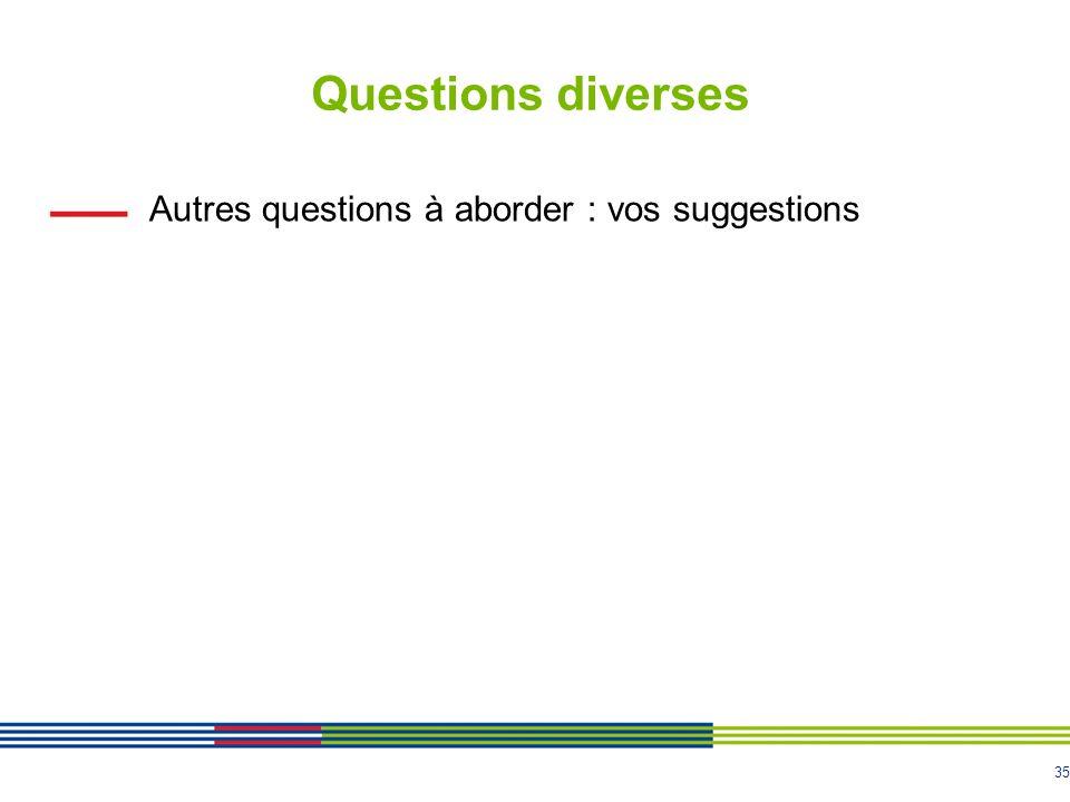 Questions diverses Autres questions à aborder : vos suggestions