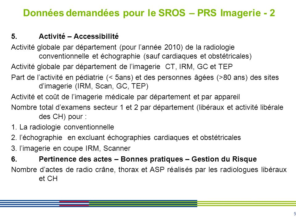 Données demandées pour le SROS – PRS Imagerie - 2