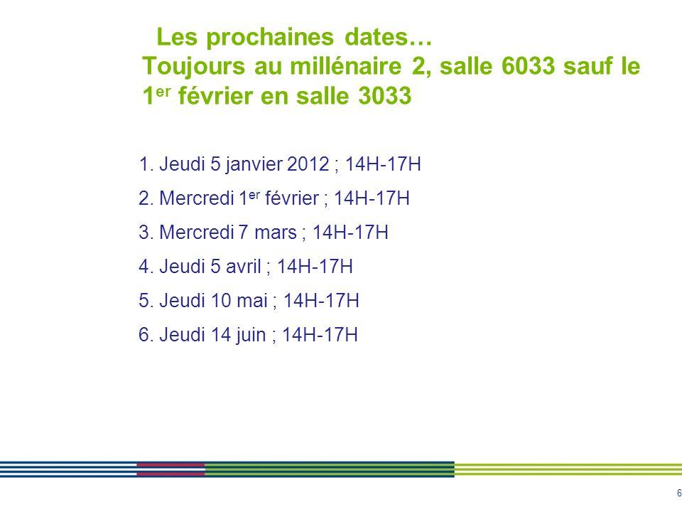 Les prochaines dates… Toujours au millénaire 2, salle 6033 sauf le 1er février en salle 3033
