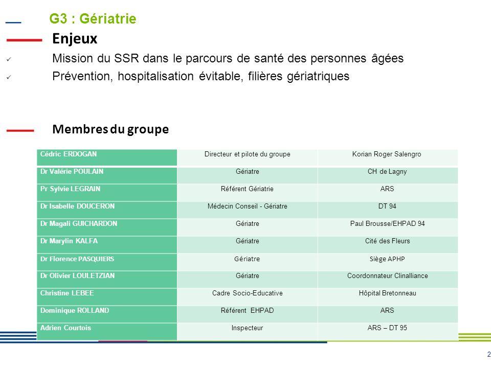 Enjeux G3 : Gériatrie Membres du groupe