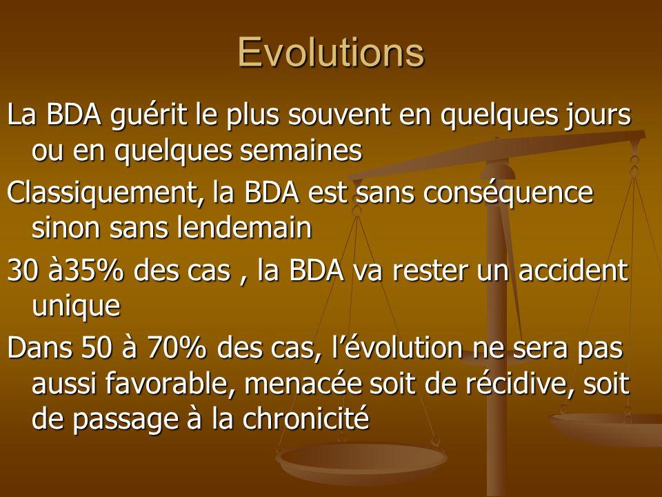 EvolutionsLa BDA guérit le plus souvent en quelques jours ou en quelques semaines. Classiquement, la BDA est sans conséquence sinon sans lendemain.