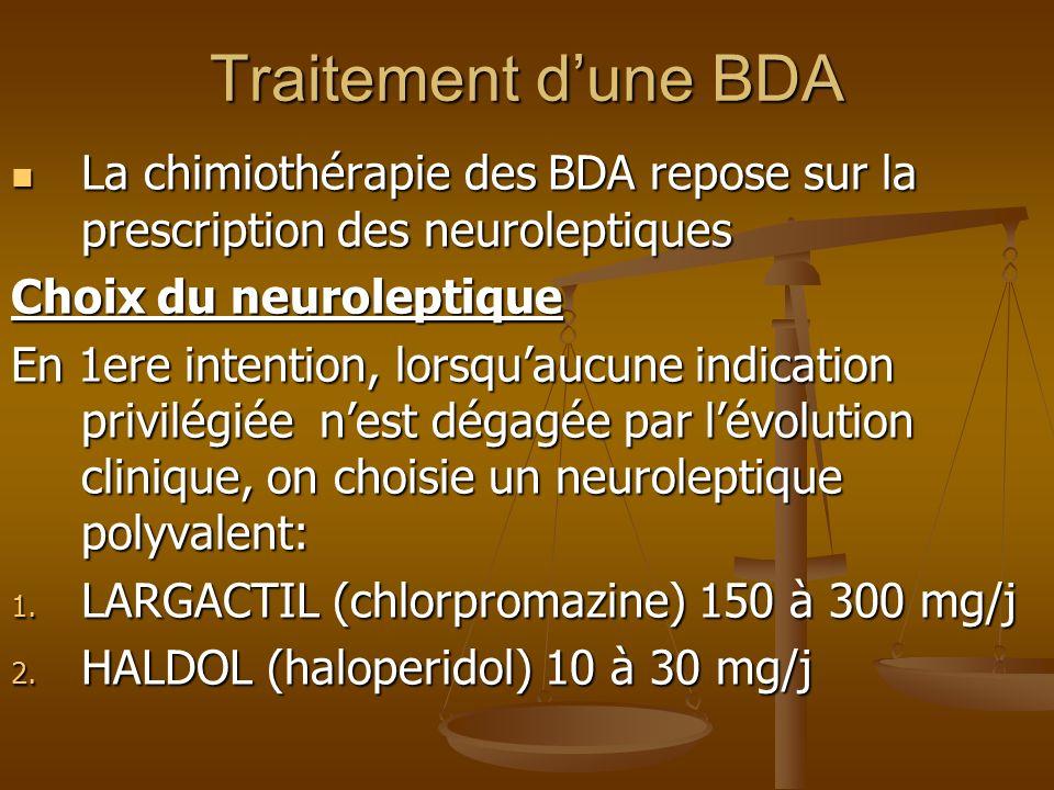 Traitement d'une BDALa chimiothérapie des BDA repose sur la prescription des neuroleptiques. Choix du neuroleptique.
