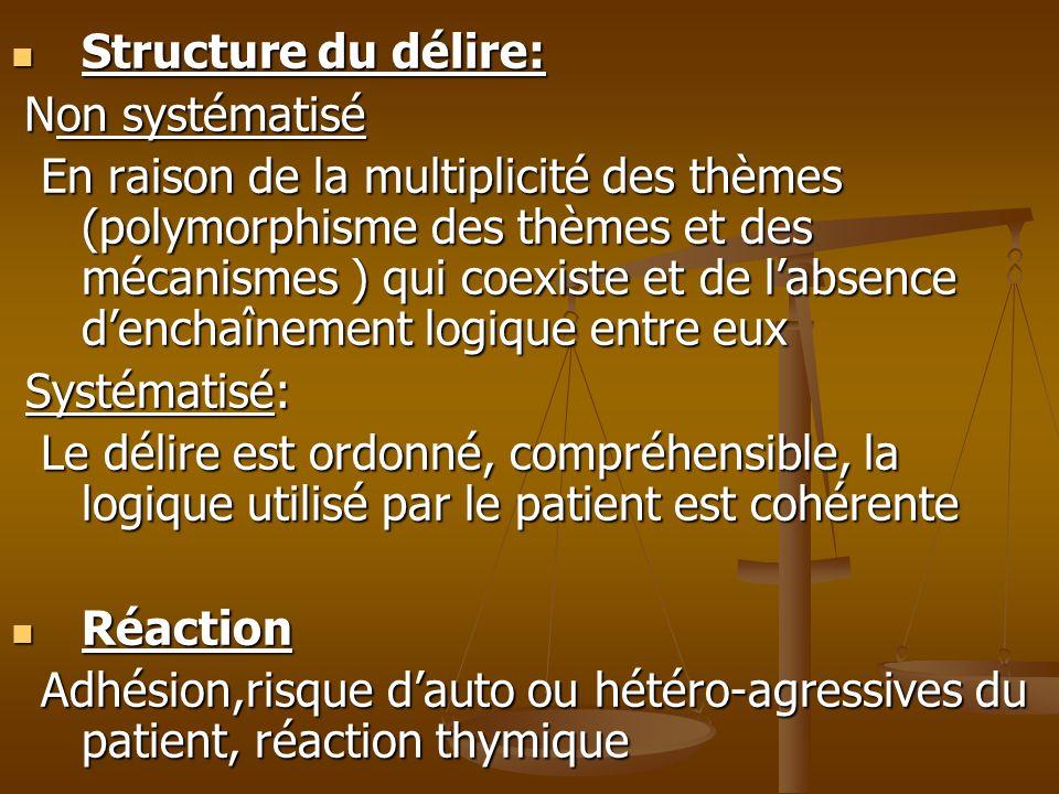 Structure du délire: Non systématisé.