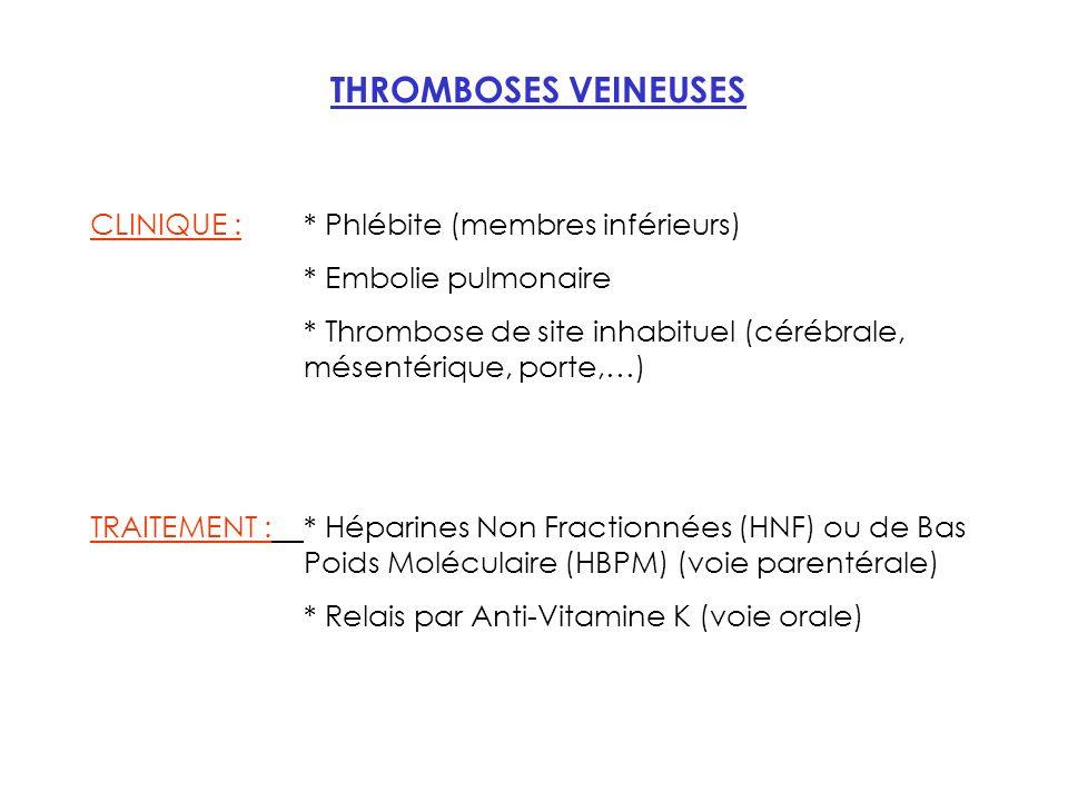 THROMBOSES VEINEUSES CLINIQUE : * Phlébite (membres inférieurs)