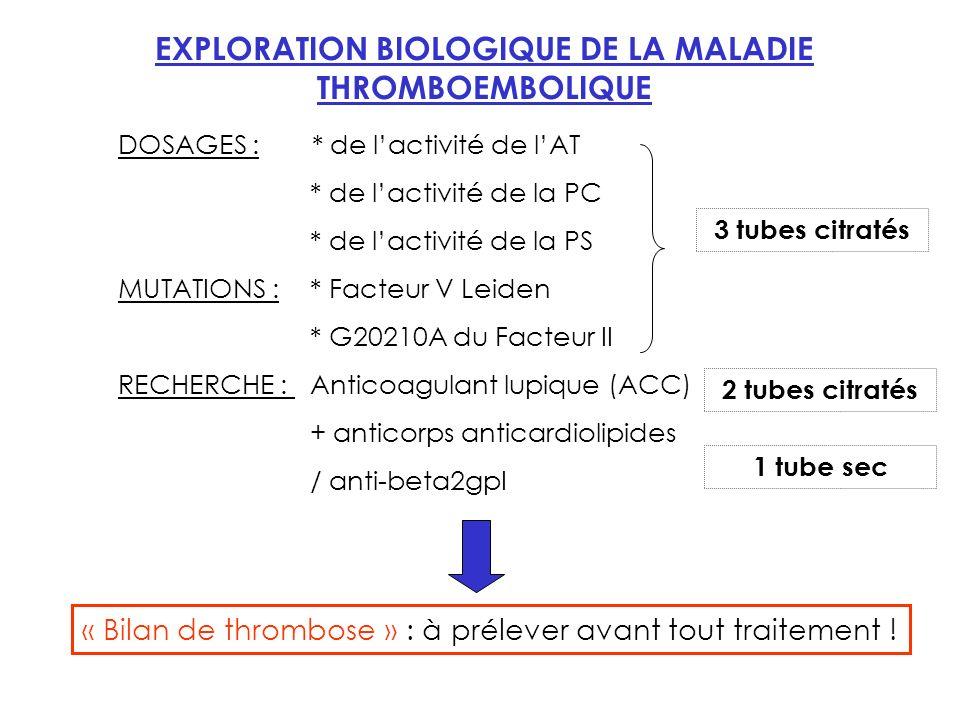 EXPLORATION BIOLOGIQUE DE LA MALADIE THROMBOEMBOLIQUE
