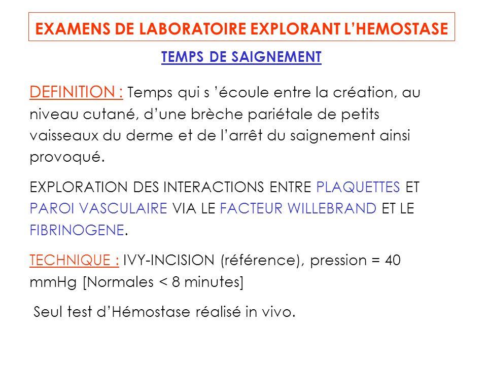 EXAMENS DE LABORATOIRE EXPLORANT L'HEMOSTASE