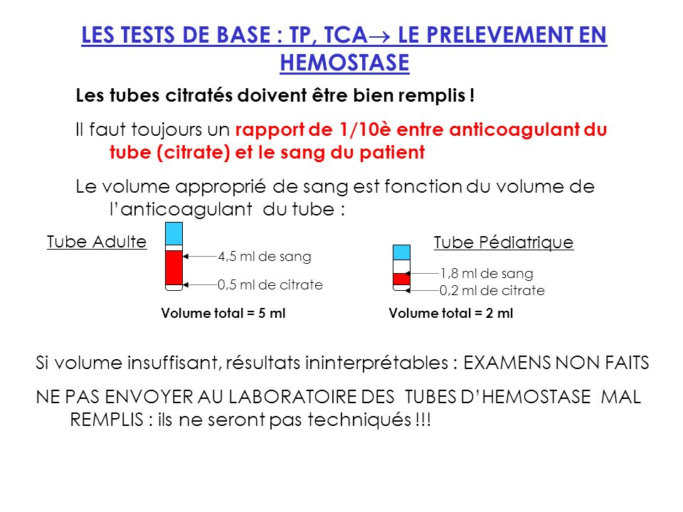 LES TESTS DE BASE : TP, TCA LE PRELEVEMENT EN HEMOSTASE